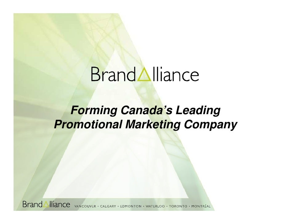 Forming Canada's Leading Promotional Marketing Company