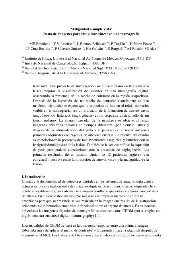 Malignidad a simple vista: Resta de imágenes para visualizar cáncer en una mamografía ME Brandan a) , Y Villaseñor b) , L ...