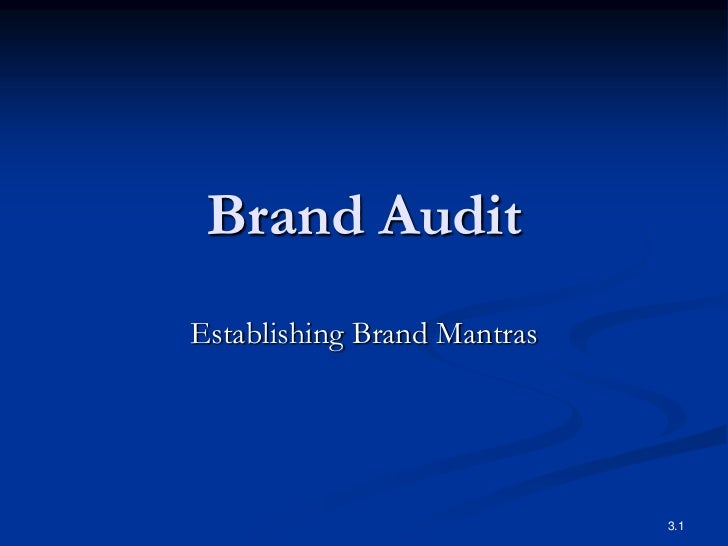 Brand AuditEstablishing Brand Mantras                             3.1