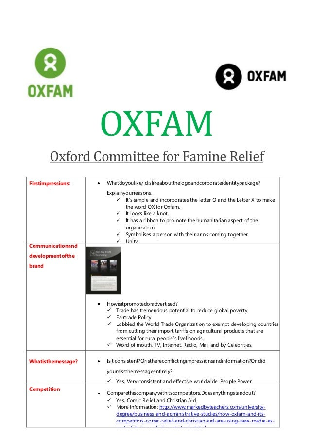 OXFAM        Oxford Committee for Famine ReliefFirstimpressions:   Whatdoyoulike/ dislikeaboutthelogoandcorporateidentityp...