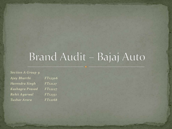 Brand audit - Bajaj Auto