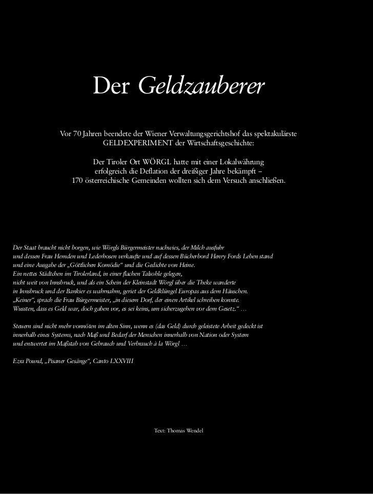 Der Geldzauberer                   Vor 70 Jahren beendete der Wiener Verwaltungsgerichtshof das spektakulärste            ...