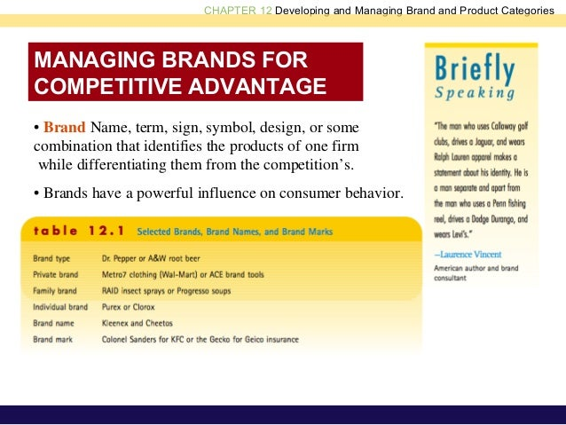 CHAPTER 12 Developing and Managing Brand and Product Categories MANAGING BRANDS FOR COMPETITIVE ADVANTAGE • Brand Name, te...