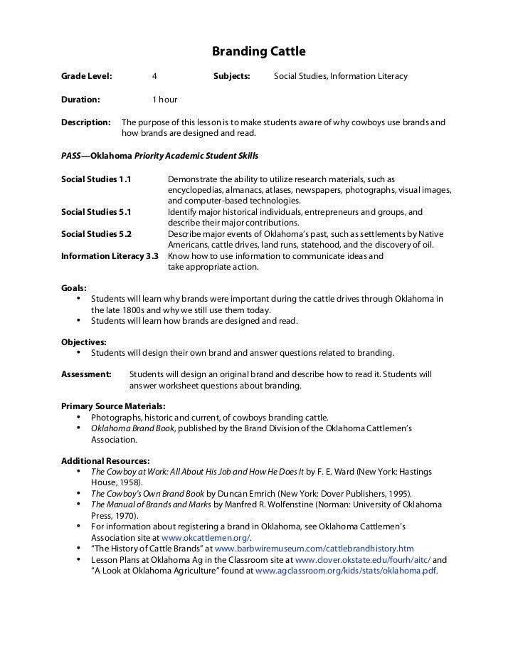 Branding CattleGrade Level:            4               Subjects:       Social Studies, Information LiteracyDuration:      ...