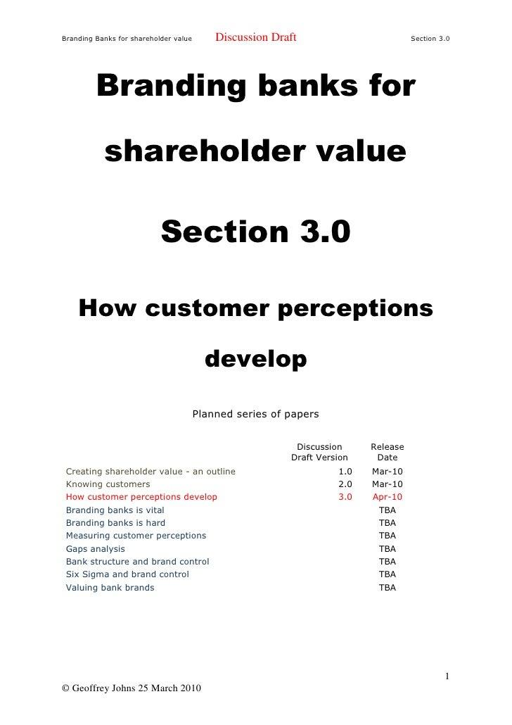 Branding Banks For Shareholder Value 3.0 Customer Perceptions