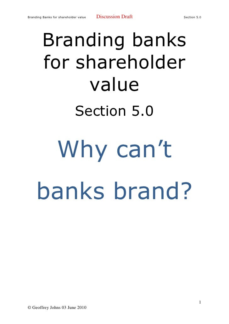 Branding Banks For Shareholder Value 5.0 Why Cant Banks Brand
