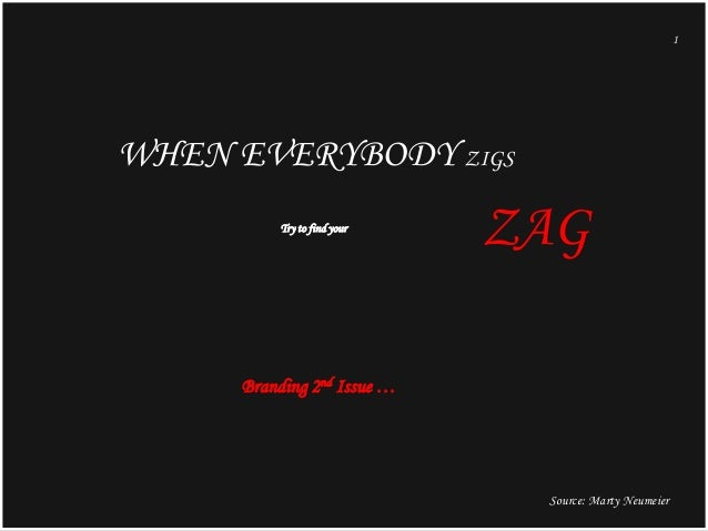 1  WHEN EVERYBODY ZIGS Try to find your  ZAG  Branding 2nd Issue …  Source: Marty Neumeier