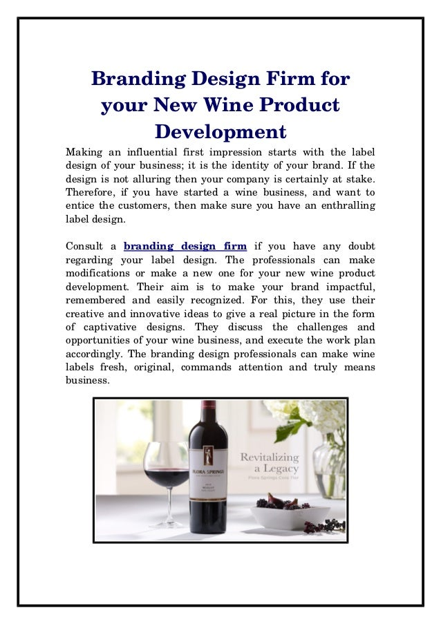 Branding design firm for your new wine product development for Product development firms