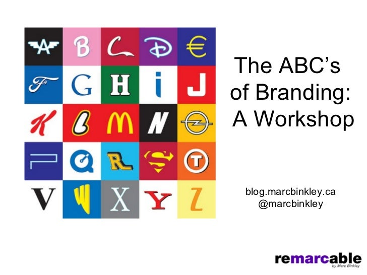 The ABC'sof Branding:A Workshop blog.marcbinkley.ca    @marcbinkley