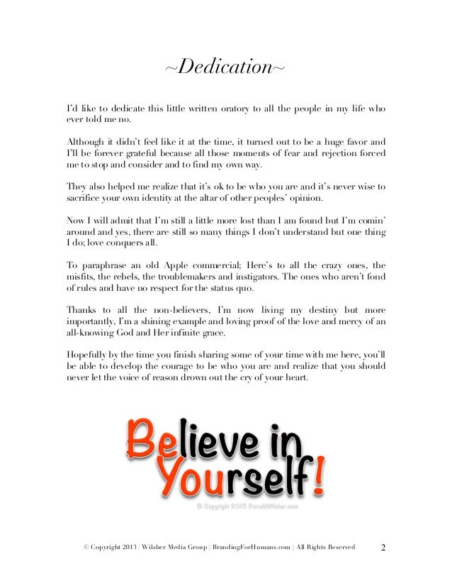 ~Dedication~I'd like to dedicate this little written...