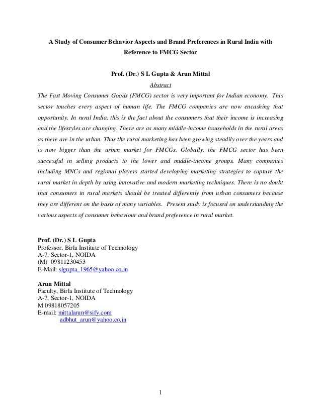 1 A Study of Consumer Behavior Aspects and Brand Preferences in Rural India with Reference to FMCG Sector Prof. (Dr.) S L ...