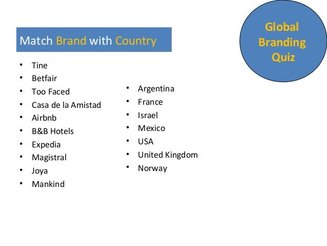 Match Brand with Country • Tine • Betfair • Too Faced • Casa de la Amistad • Airbnb • B&B Hotels • Expedia • Magistral • J...