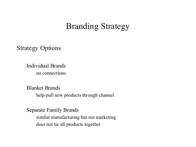 Branding StrategyStrategy OptionsIndividual Brandsno connectionsBlanket Brandshelp pull new products through channelSepara...