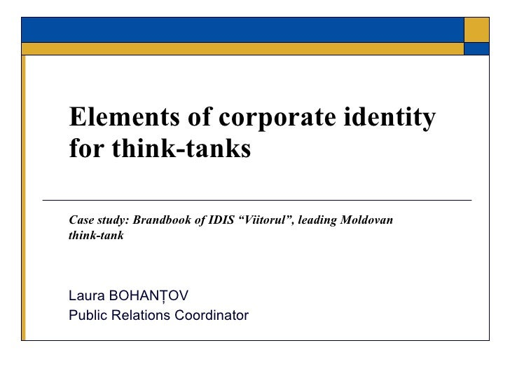 Elements of corporate identity for think-tanks