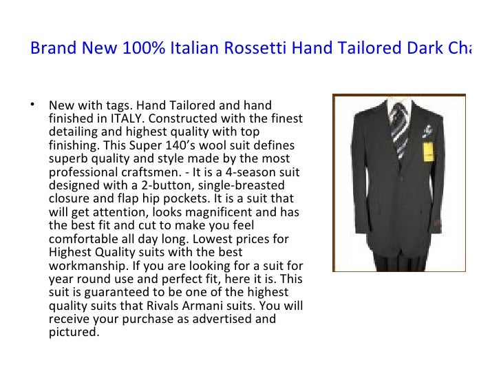 Brand New 100% Italian Rossetti Hand Tailored