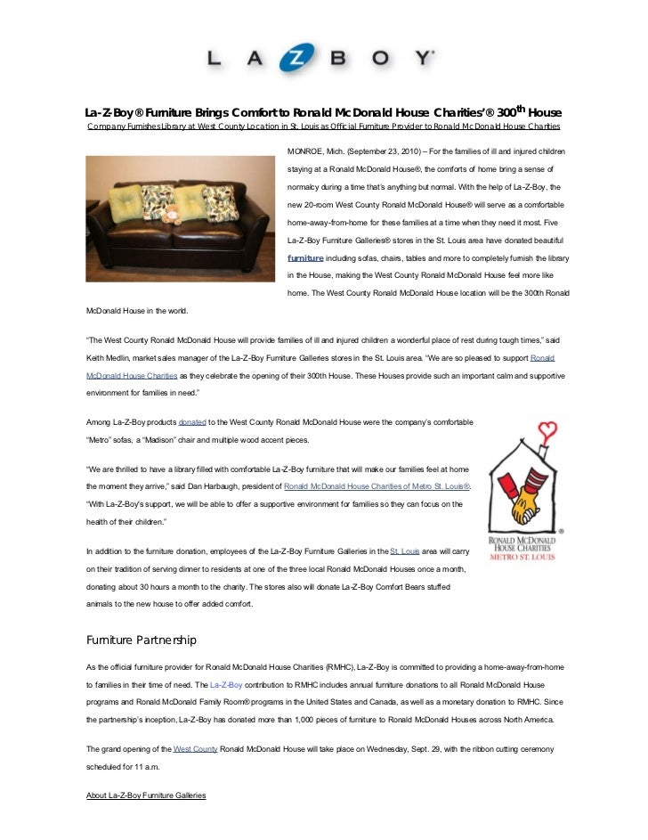 La-Z-Boy Furniture brings comfort to Ronald McDonald house charities' 300th house