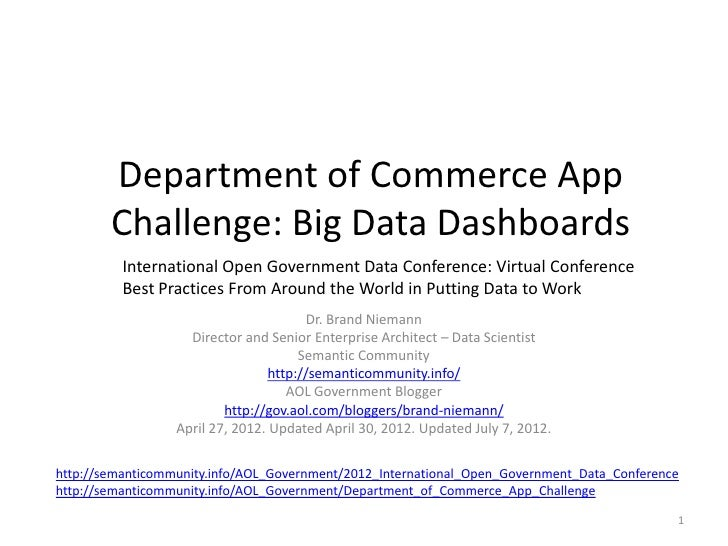 Department of Commerce App        Challenge: Big Data Dashboards          International Open Government Data Conference: V...