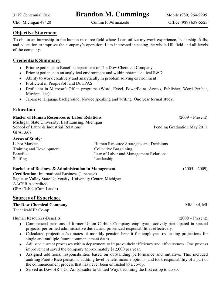 brandon cummings detailed resume 2010