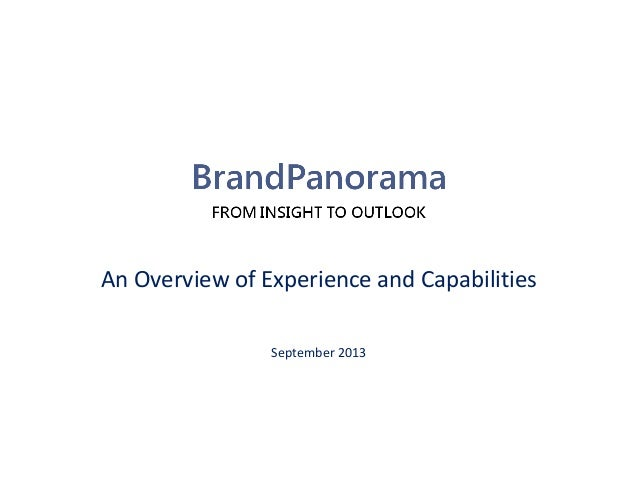 An Overview of Experience and Capabilities September 2013