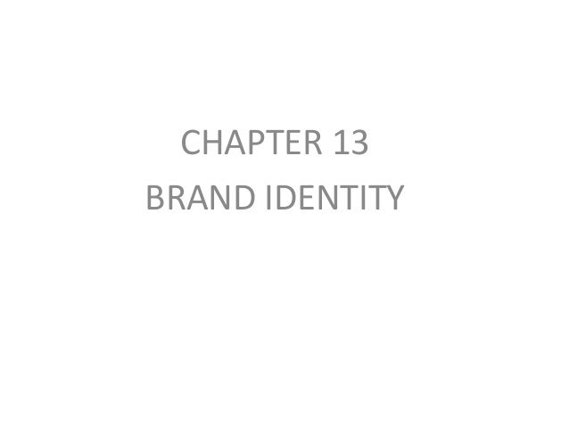 CHAPTER 13 BRAND IDENTITY