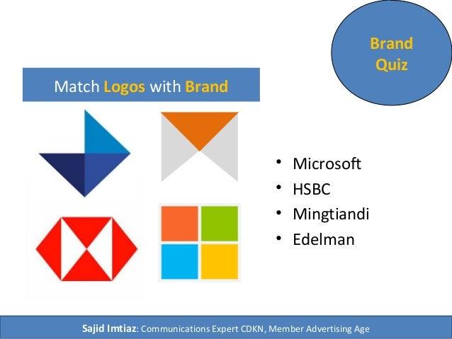 Match Logos with Brand  • Microsoft  • HSBC  • Mingtiandi  • Edelman  Brand  Quiz  Sajid Imtiaz: Communications Expert CDK...
