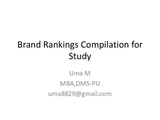 Brand Rankings Compilation for            Study            Uma M          MBA,DMS-PU       uma8829@gmail.com