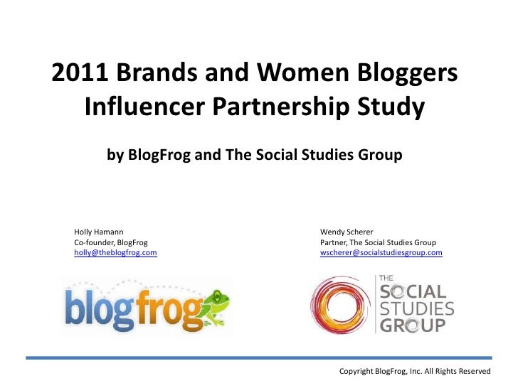 2011 Brands and Women Bloggers  Influencer Partnership Study