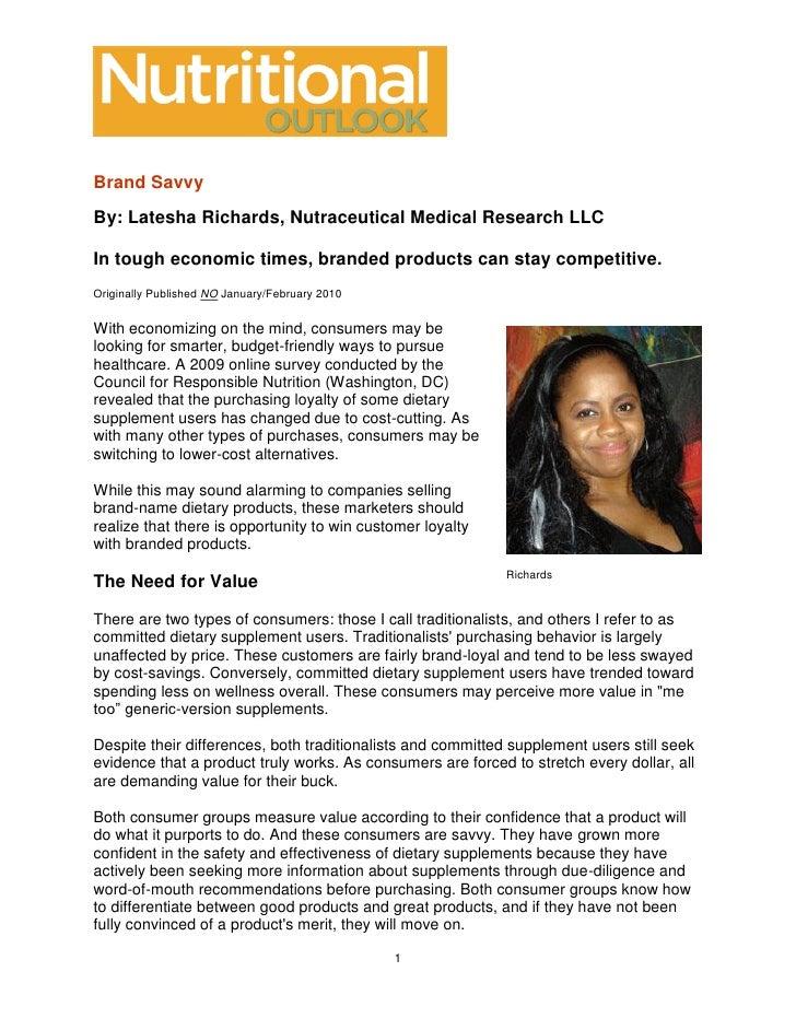 Brand Savvy   Nutritional Outlook Jan Feb 2010