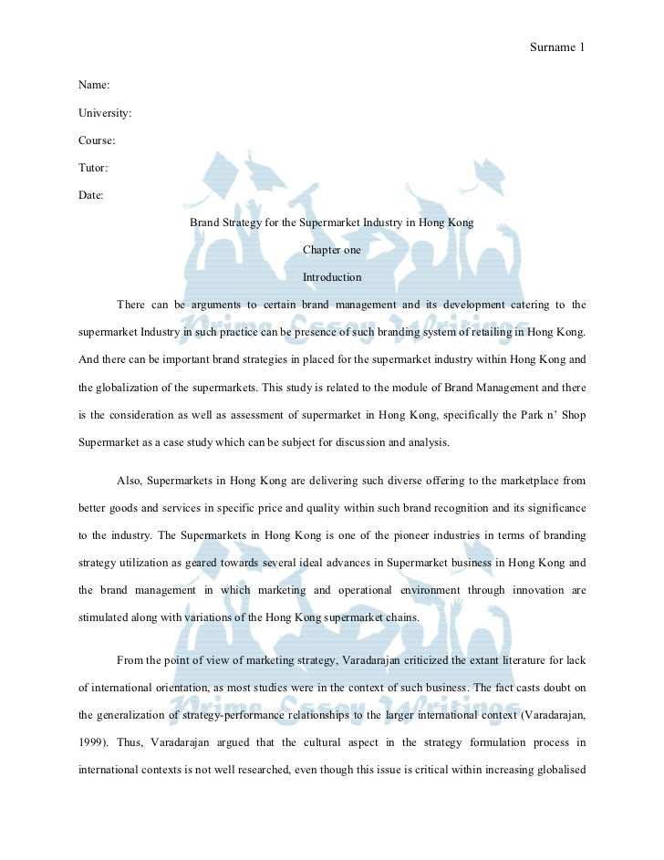 Prime Essay Writings Sample Brand strategy for the supermarket industry in hong kong dissertation