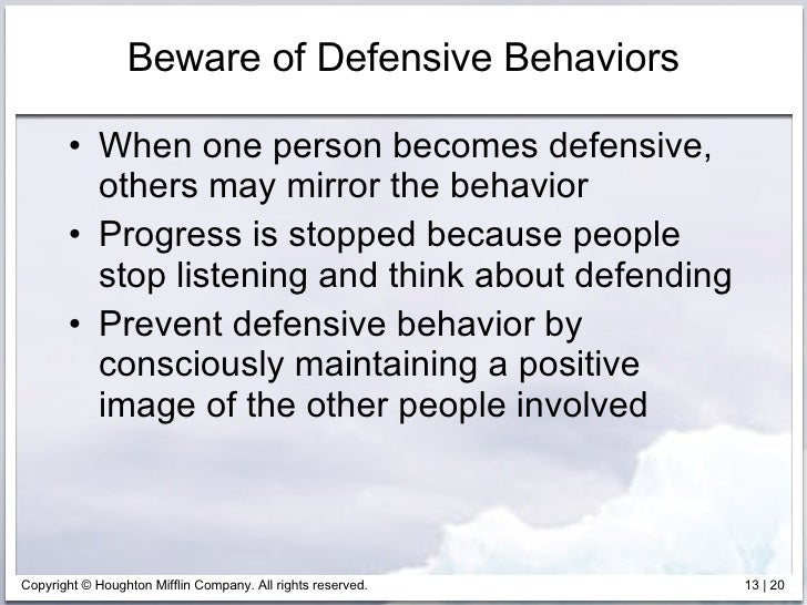 preventing defensiveness Defensive communication one possible type of alteration—and the one with which this paper is concerned—is that of reducing the degree of defensiveness.