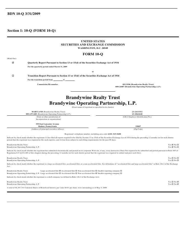 BDN 10-Q 3/31/2009    Section 1: 10-Q (FORM 10-Q)                                                                         ...