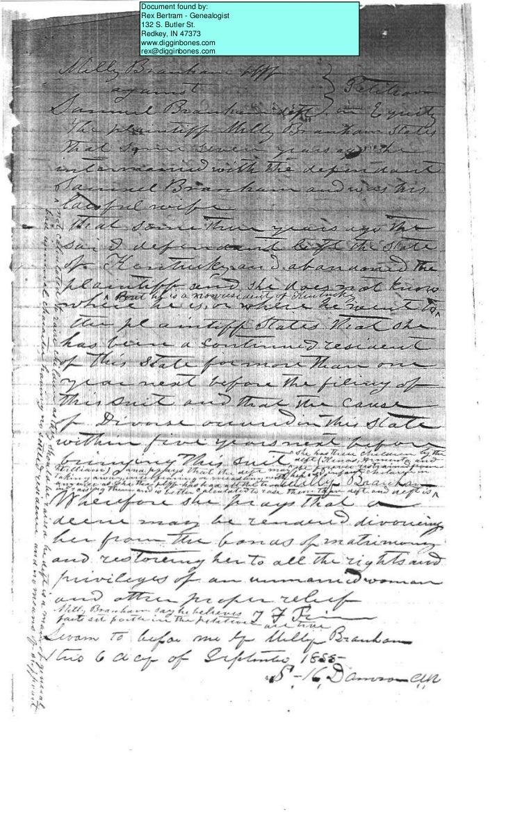 Document found by:Rex Bertram - Genealogist132 S. Butler St.Redkey, IN 47373www.digginbones.comrex@digginbones.com