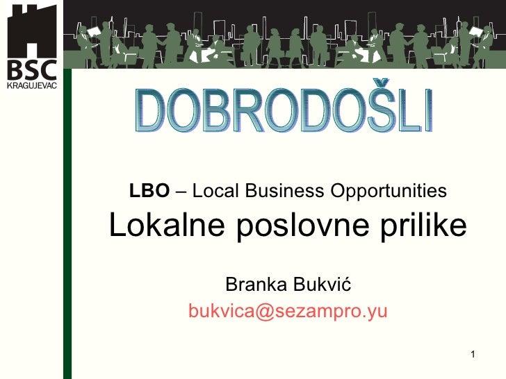 Branka Bukvić - Lokalne poslovne prilike