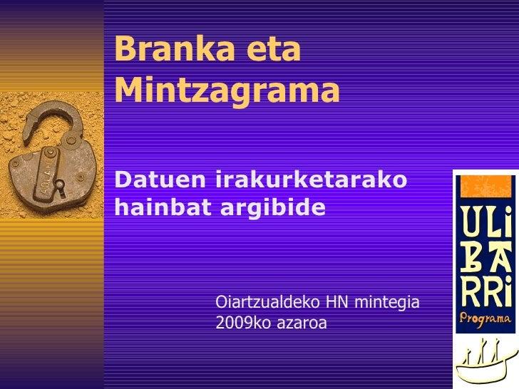 Branka eta Mintzagrama Datuen irakurketarako hainbat argibide Oiartzualdeko HN mintegia 2009ko azaroa