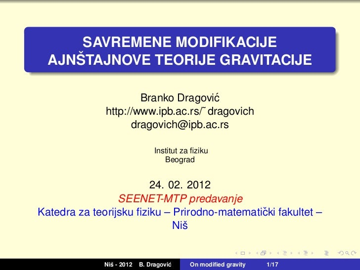 Branko Dragovic - Modern Modifications of Einstein's Theory of Gravity