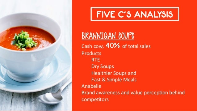 brannigan foods Brannigan foods strategic marketing planning for the soup division brannigan foods soup division is a 100 year old company with mature products which account for 40% of the whole soup market and it is the most significant division of the brannigan foods group the most important category is the rte soups which account for 78% of total sales.