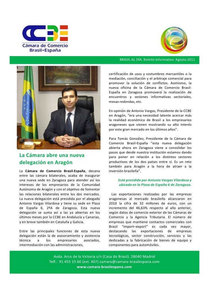 BRASIL AL DÍA. Boletín informativo Agosto 2011                                                      certificación de usos ...