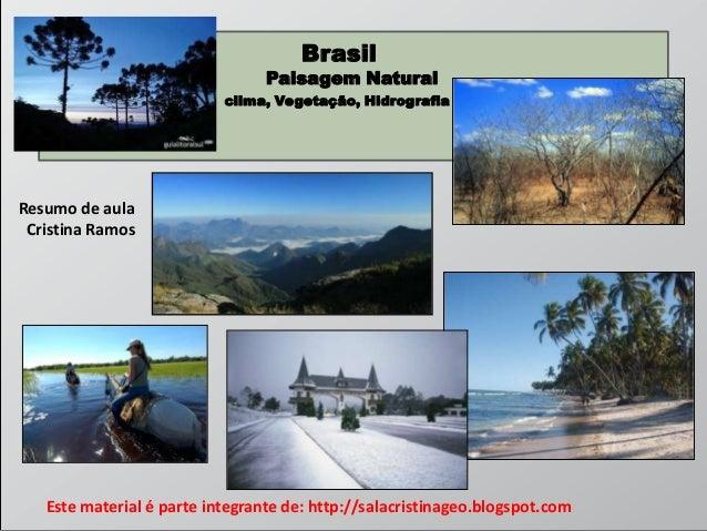 Brasil  Paisagem Natural Hidrografia  clima, Vegetação, Hidrografia  Resumo de aula Cristina Ramos  Este material é parte ...