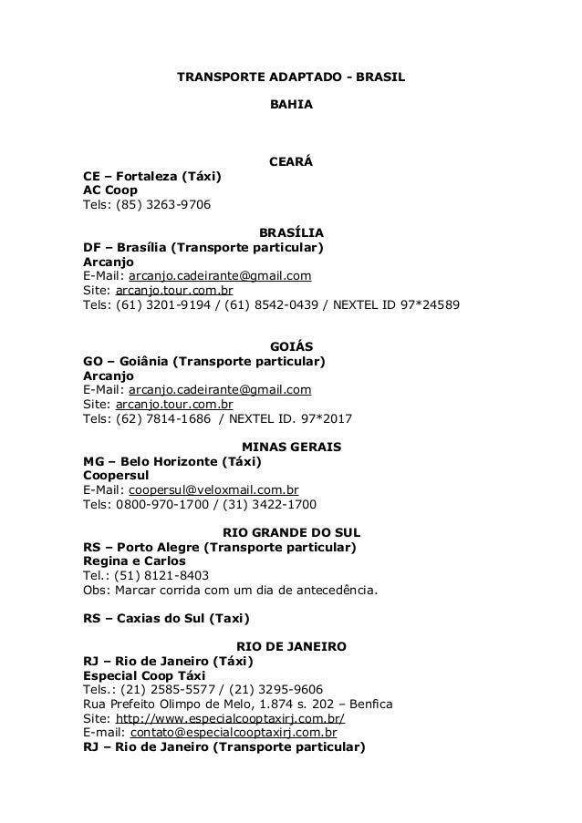 TRANSPORTE ADAPTADO - BRASIL                              BAHIA                              CEARÁCE – Fortaleza (Táxi)AC ...