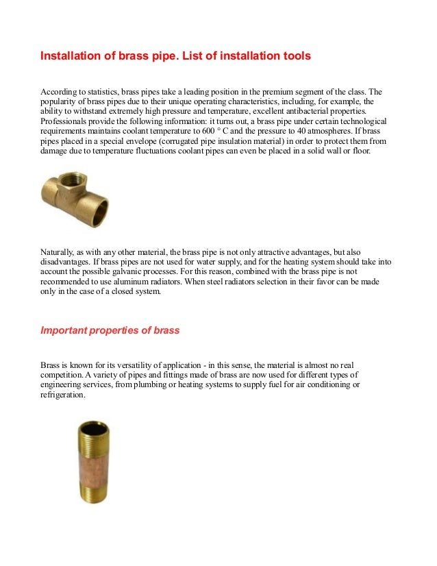 Installation of brass pipe. List of installation toolsAccording to statistics, brass pipes take a leading position in the ...