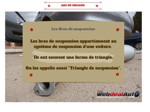 Les Bras de suspension  Les bras de suspension appartiennent au  système de suspension d'une voiture.  Ils ont souvent une...