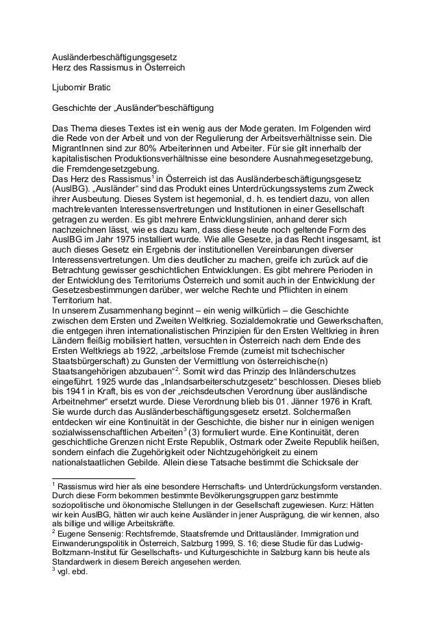 """Ausländerbeschäftigungsgesetz Herz des Rassismus in Österreich Ljubomir Bratic Geschichte der """"Ausländer""""beschäftigung Das..."""