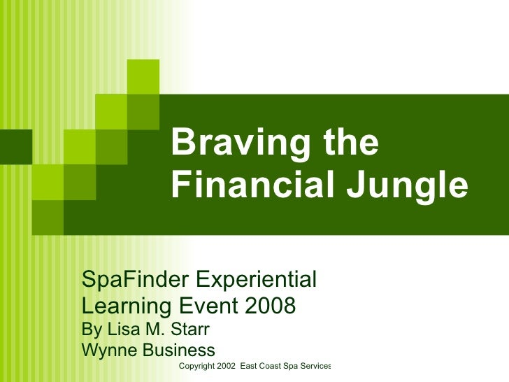 Braving the Financial Jungle SpaFinder Experiential  Learning Event 2008 By Lisa M. Starr Wynne Business