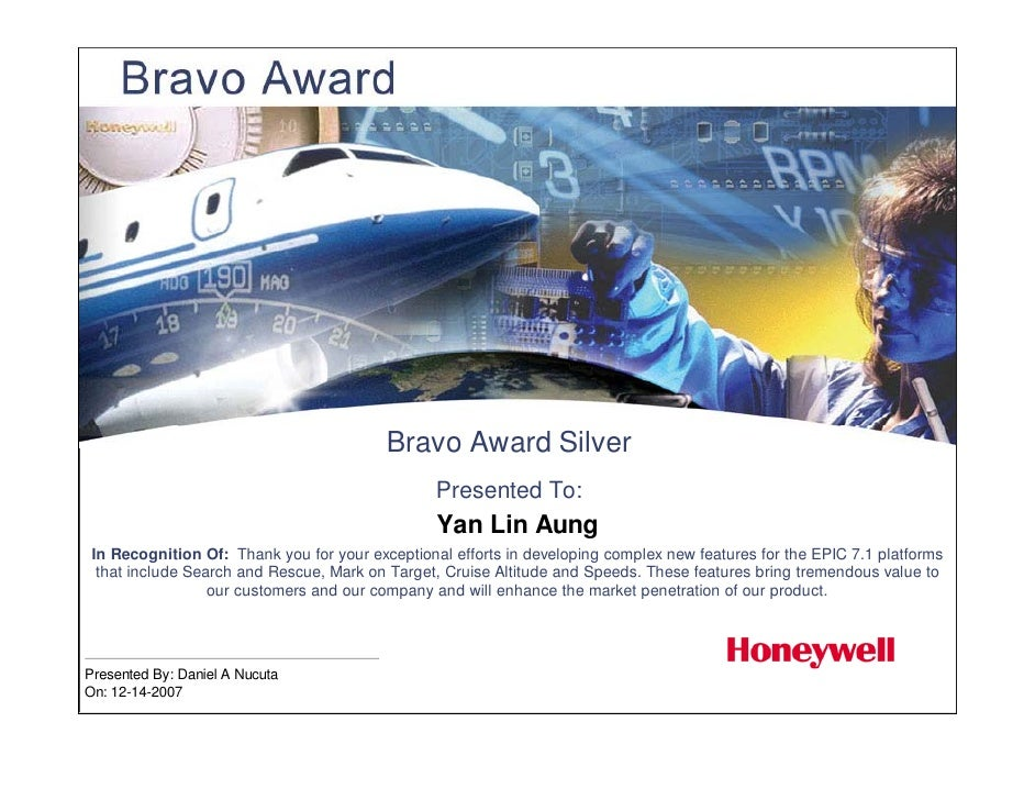 Bravo Award Silver                                                  Presented To:                                         ...