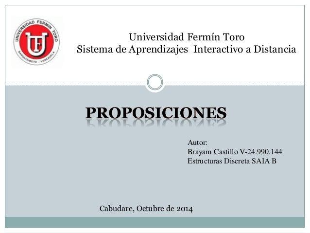 Universidad Fermín Toro Sistema de Aprendizajes Interactivo a Distancia  Autor:  Brayam Castillo V-24.990.144  Estructuras...