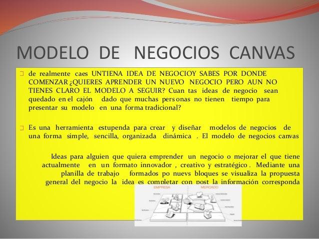 MODELO DE NEGOCIOS CANVAS  de realmente caes UNTIENA IDEA DE NEGOCIOY SABES POR DONDE  COMENZAR ¿QUIERES APRENDER UN NUEVO...