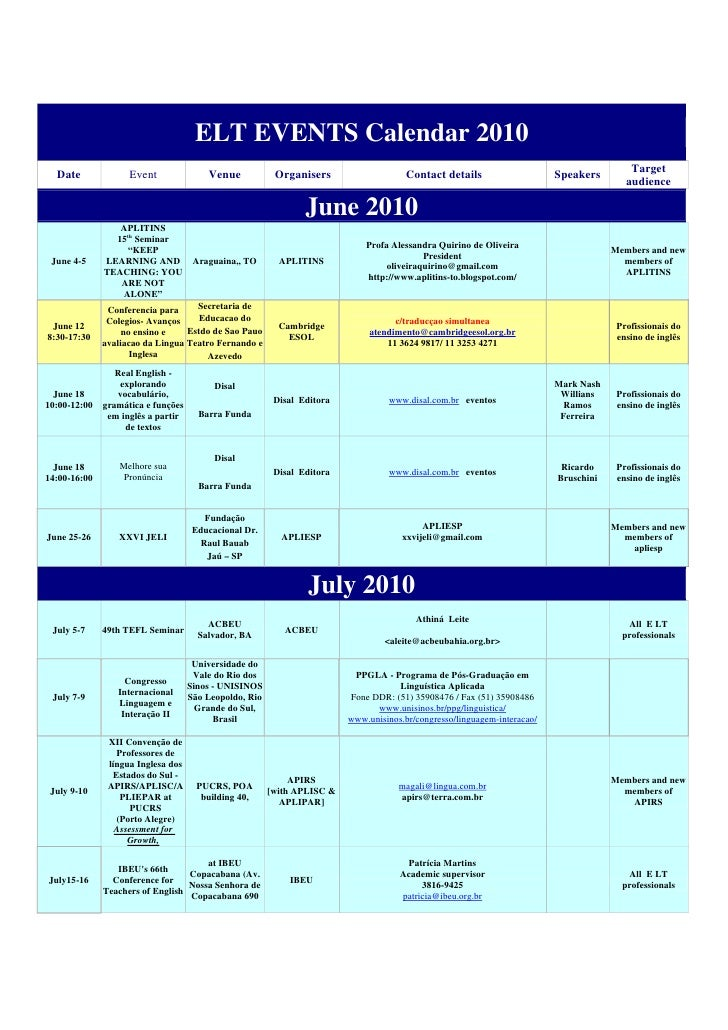 ELT EVENTS Calendar 2010                                                                                                  ...