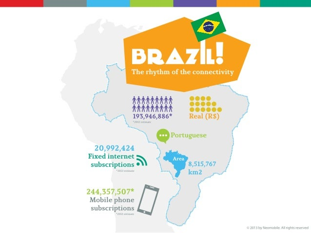 BRAZIL - The rhythm of the connectivityPeople: 193,946,886 (2012 estimate)Currency: Real (R$)Language: PortugueseArea: 8,5...