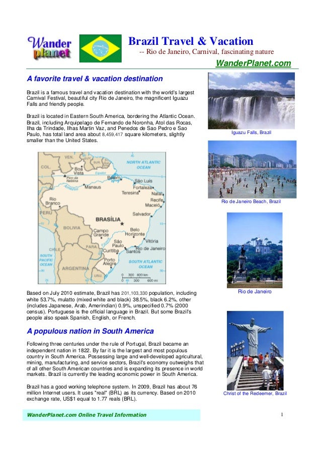 Brazil Travel & Vacation                                                  -- Rio de Janeiro, Carnival, fascinating nature ...