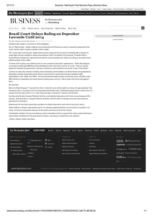 [Participação] The Washington Post (27/11/2013): Brazil court delays ruling on depositor lawsuits